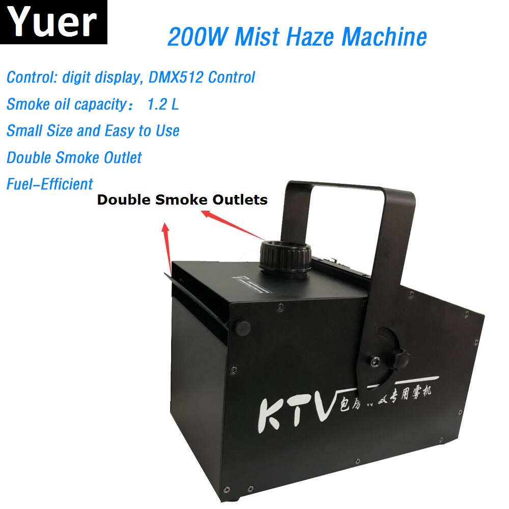 آلة ضباب 200 واط ، مخرج دخان مزدوج ، 1.2L ، DMX512 ، مصباح مسرح Led ، حفلة DJ