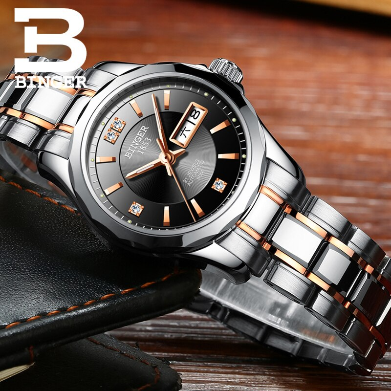 New Binger Watch Women Luxury Brand Japan Automatic Mechanical Movement Wrist Sapphire Waterproof Ladies Watch gold B8051-8 enlarge