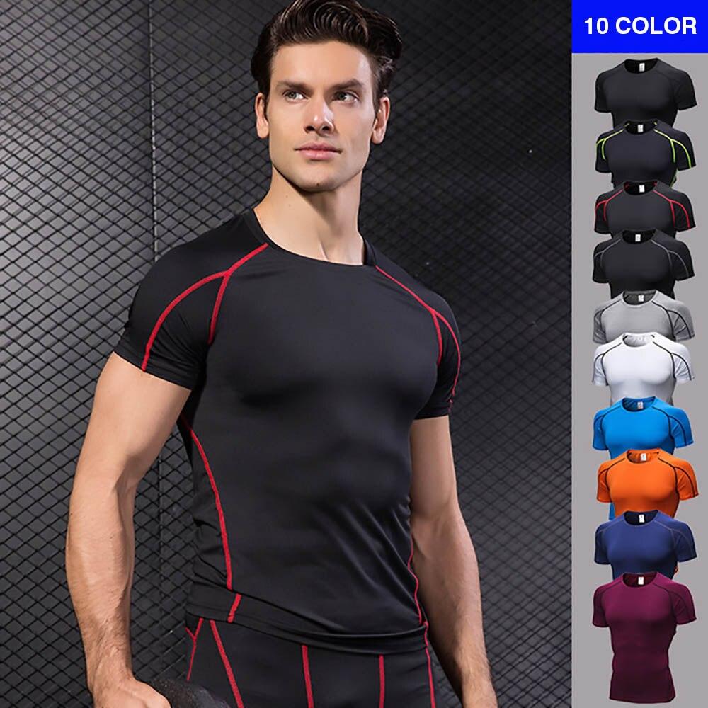 FDBRO Camiseta de deporte de secado rápido tenis apretado fútbol gimnasio Demix ropa deportiva de compresión para hombres de manga corta Camiseta para correr