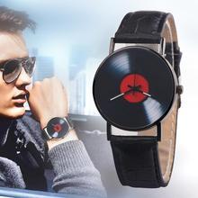 Männer Einfache Retro Vinyl Record Zifferblatt Faux Leder Männer Frauen Uhr Analog Quarz Armbanduhr Geschenk