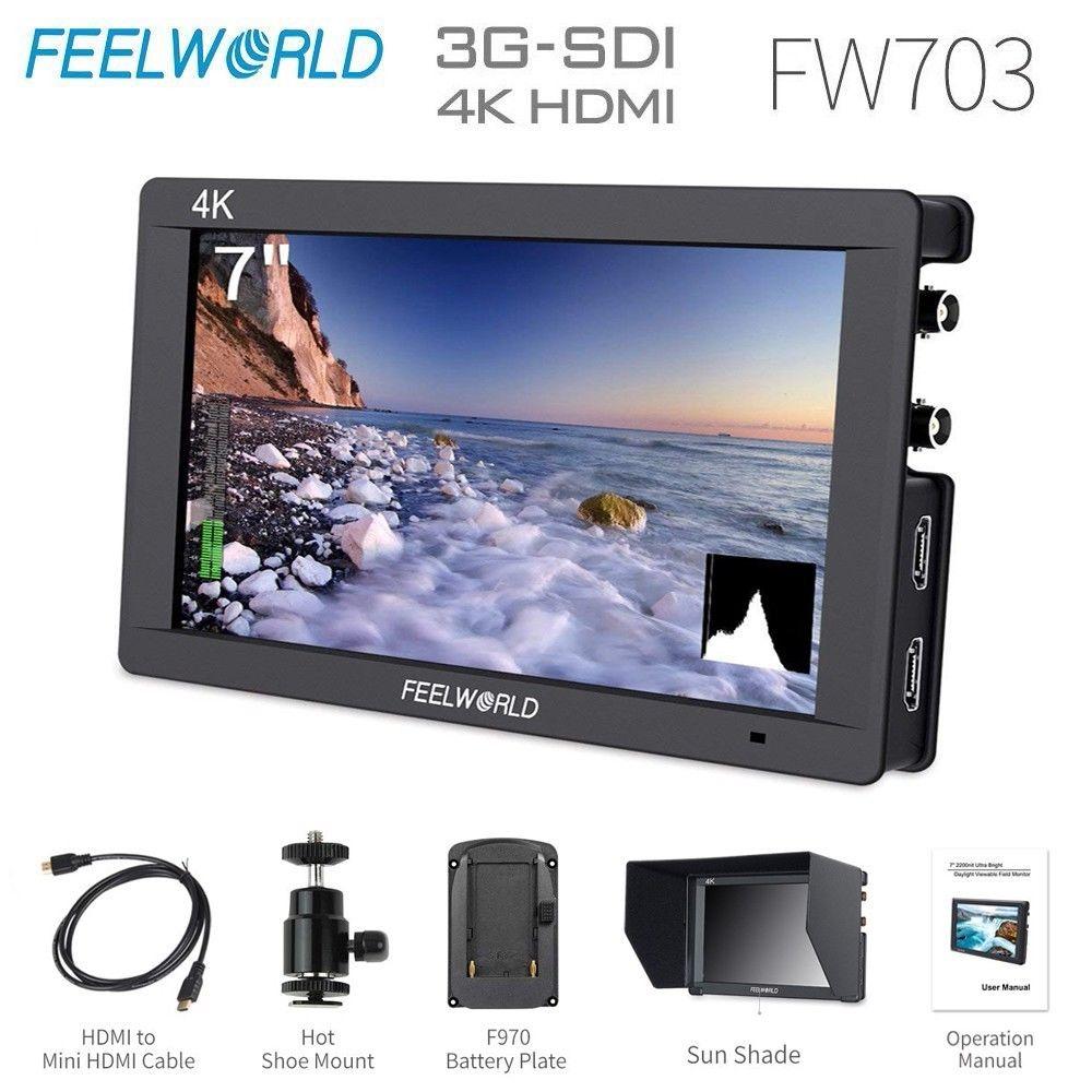 Feelworld-شاشة ميدانية لكاميرا HDMI FW703 3G SDI 4K ، شاشة 7 بوصة IPS Full HD 1920x1200 DSLR محمولة لسوني نيكون كانون