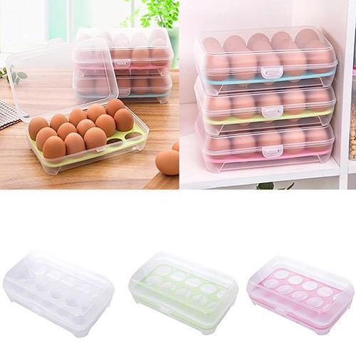 ¡POP tema! Una sola capa 15 rejillas huevos titular caja plástico hermético contenedor plástico caja de almacenamiento