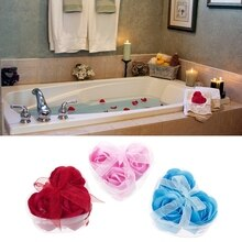 3Pcs/Set Rose Petal Flower Scented Bath Soap + Heart Shape Box For Wedding Gift