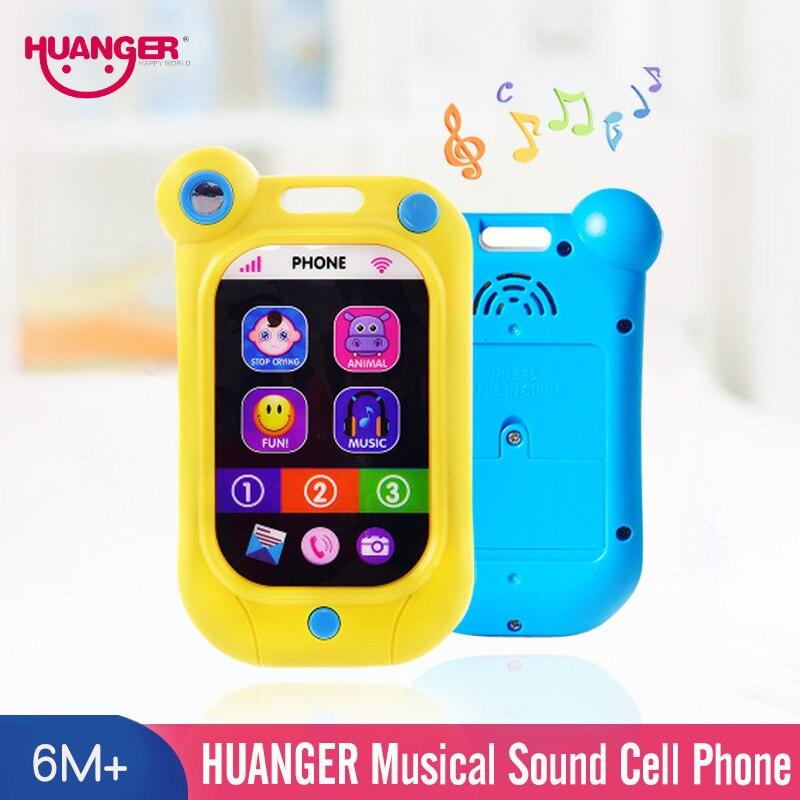 Huanger telefone móvel crianças adorável brinquedos do bebê chocalhos mão agitar sino anel 0-12months recém-nascido unisex crianças brinquedo educacional precoce
