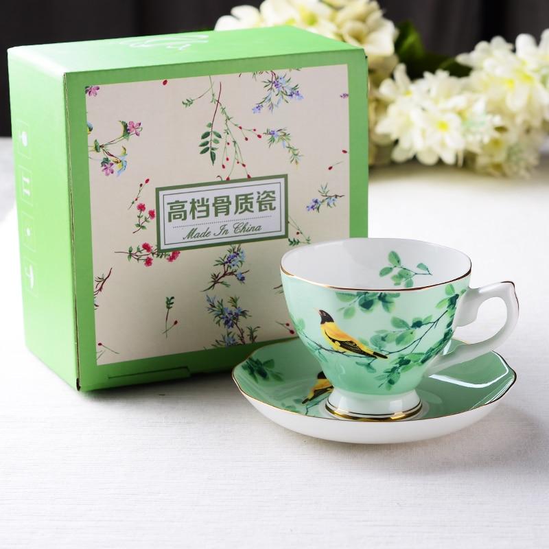 Creative Bone China Flower Tea Cup And Saucer Set Ceramic Coffee Cup Set British Black Tea Cup Chinese Wedding Tea Set