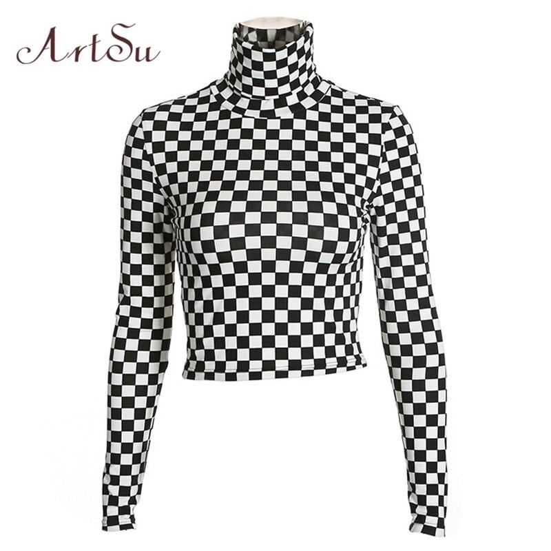 ArtSu otoño cuello alto de manga larga Crop Top tartán checkerboard impreso camiseta Harajuku básica mujeres camisetas Casual ASTS21020