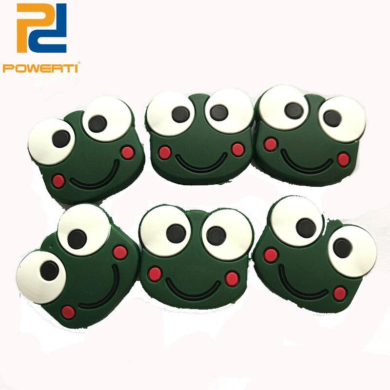 Powerti 10 pçs/lote bonito sapo raquete de tênis amortecedor dos desenhos animados bonito silicone tênis vibração amortecedor