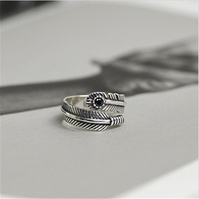 Горячая Распродажа, чистое серебро 925 пробы, кольца с перьями, ручная работа, Винтажный Черный гранат, натуральный камень, украшение, размер для женщин и мужчин