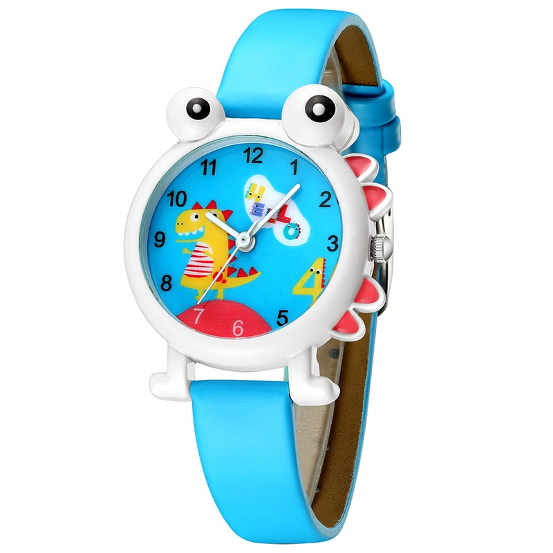Reloj KDM con diseño de dinosaurio de dibujos animados para niños, relojes impermeables para chico y Chico, reloj de pulsera de cuero genuino para estudiantes