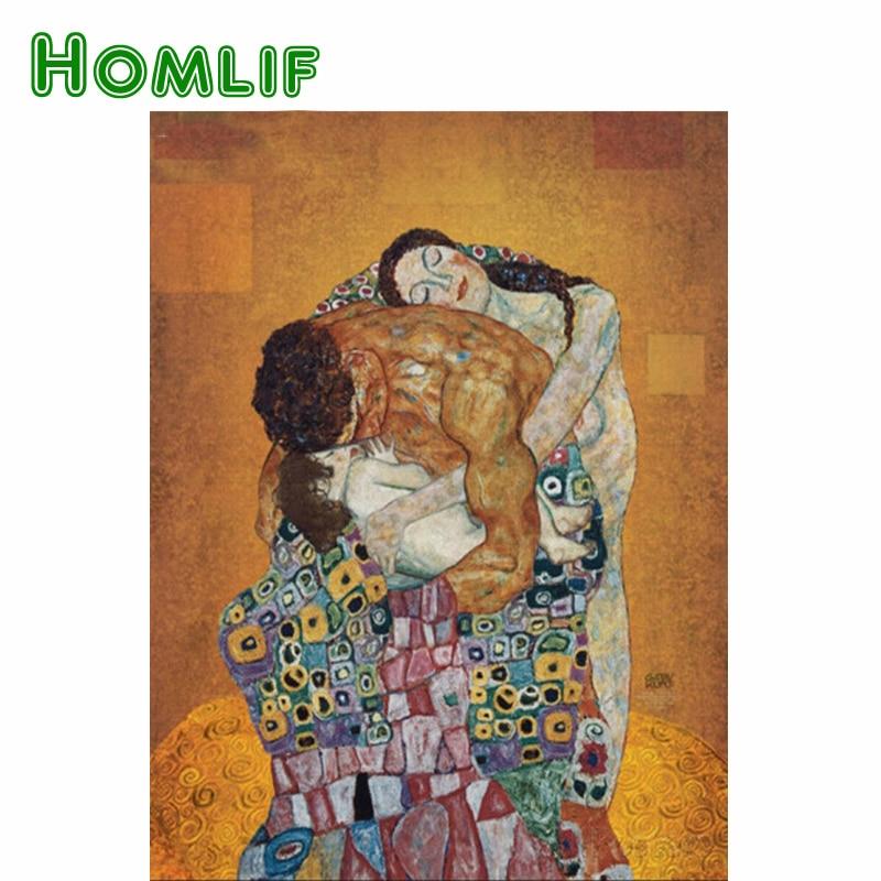 HOMLIF Diamond Painting Cross-Stitch Happy Family DIY Diamond Embroidery Klimt painting 3D Mosaic Picture Crafts Kits Decor