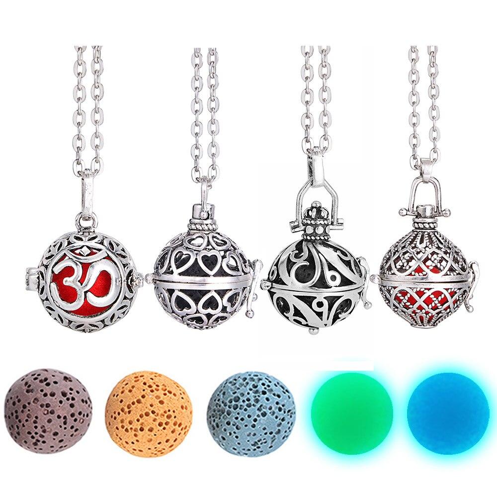 Collar brillante en la oscuridad Bola de fieltro piedra de Lava collar de yoga aromaterapia difusor relicario de collar Collar para aceite esencial