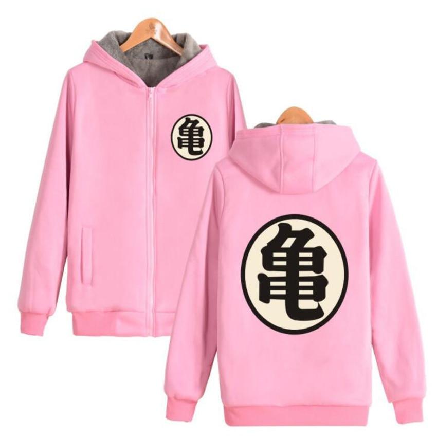 Anime Dragon Ball Z Pink Hoodie mujeres hombres Dragonball Son Goku Hada tortuga gruesa chaqueta caliente chaqueta con capucha chándal masculino 4XL