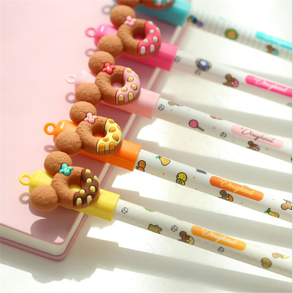 1PC Hot Sale Erasable Gel Pen Donut Cartoon Bear Rubbing Pens Blue Ink Student Stationery School Office Supplies NO BOX