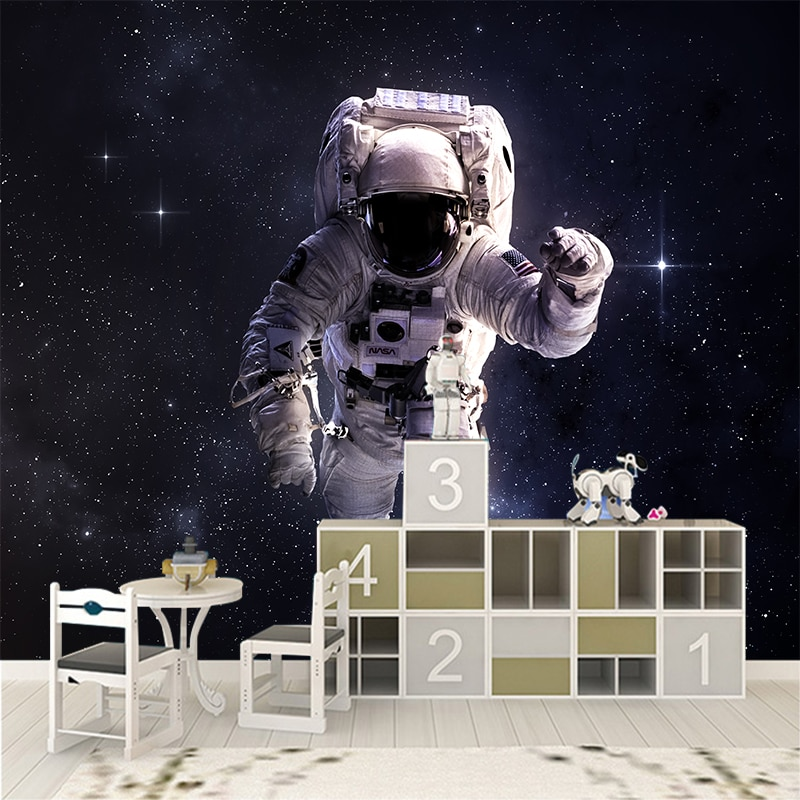 Murales de pared personalizados de cualquier tamaño, papel tapiz moderno con perspectiva de astronauta, pegatina para pared YBZ094