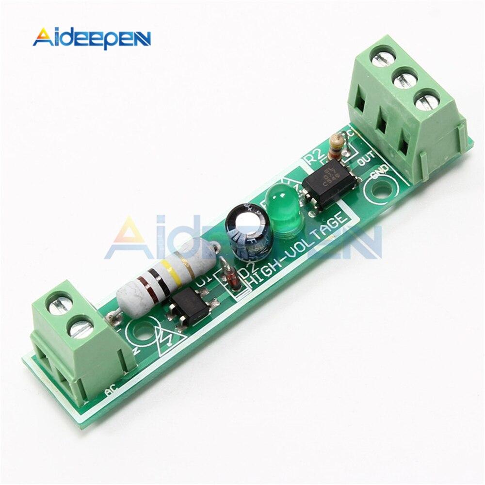 Módulo de aislamiento optoacoplador AC 220V Placa de detección de tensión adaptable 3-5V para PLC 1 bit 1 canal