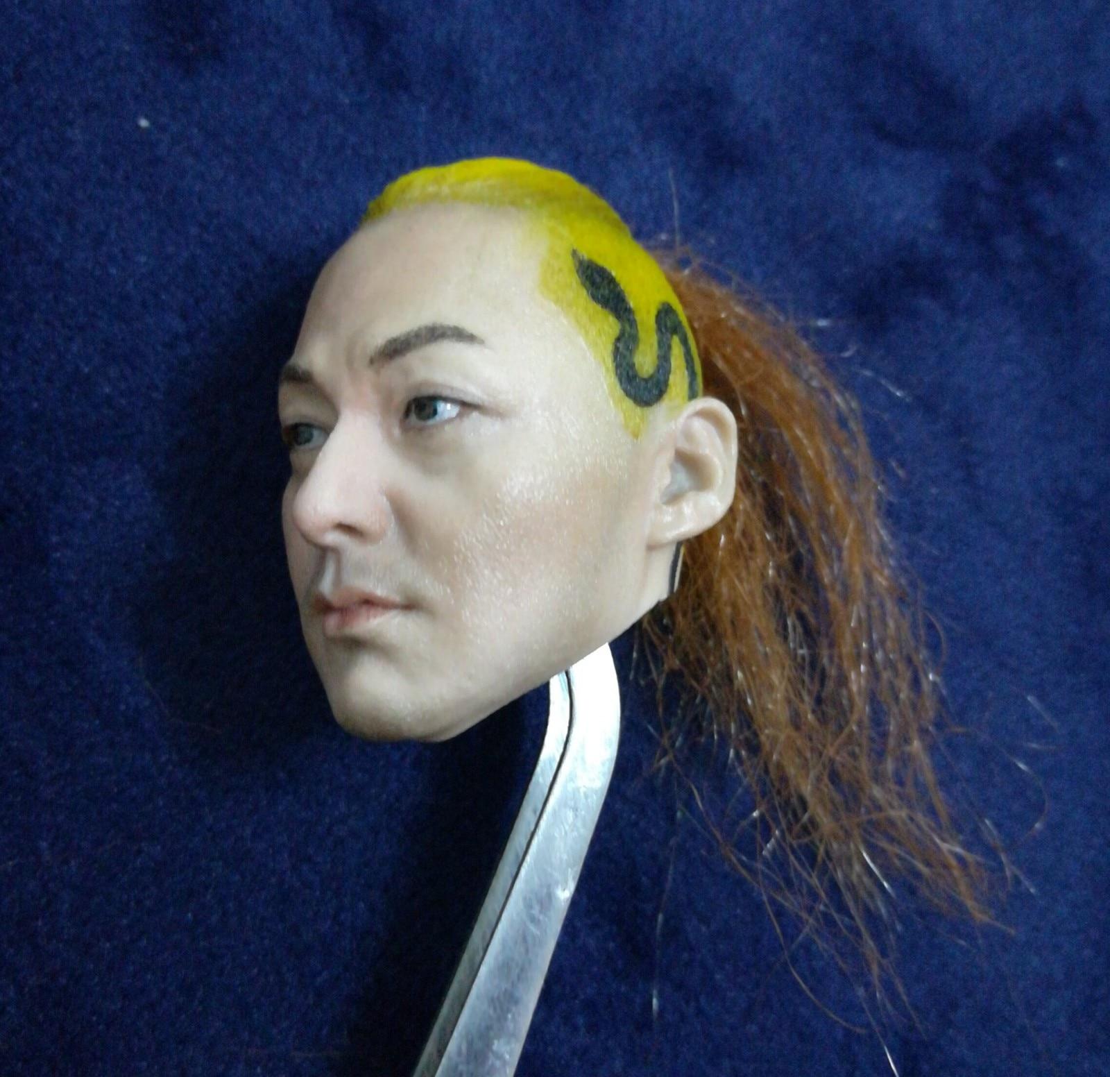 1/6 Male Japanese Warrior Samurai Head Sculpt Models for 12'' Action Figures Bodies DIY