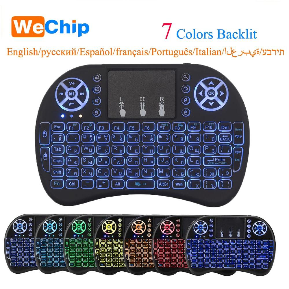 I8 2.4 GHz teclado inalámbrico de aire del ratón touchpad handheld para Android TV box mini pc retroiluminación I8 con inglés ruso teclado