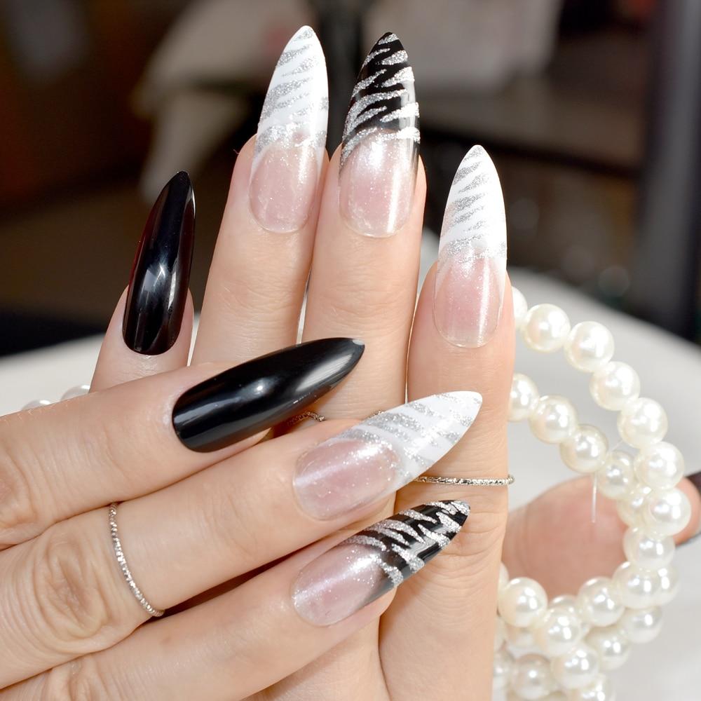 Удлиненные заостренные предварительно дизайнерские ногти, черные, белые, с зебрами, надавливание на ногти, длинные, французский, с наклейкой