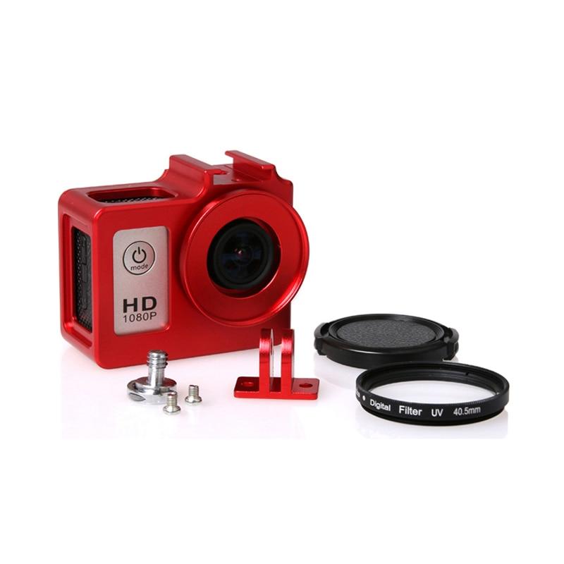 Sjcam sj4000 caixa de liga de metal habitação gaiola escudo + len filtro uv para sjcam sj4000 sj6000 sj6000 sj 4000 câmera wi-fi acessórios