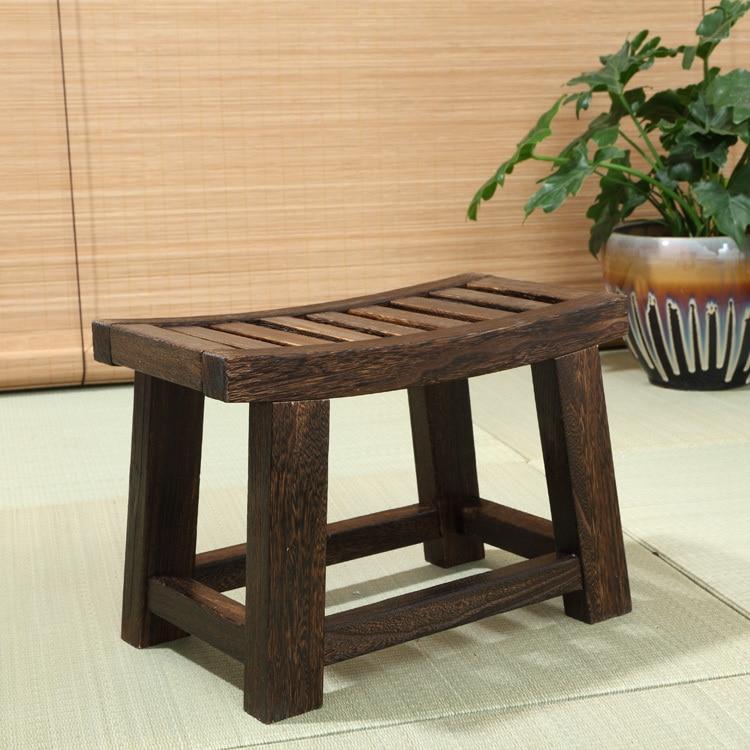 Banco de taburete de madera antiguo japonés Paulownia, mobiliario tradicional asiático, sala de estar, pequeño taburete de madera portátil de diseño bajo