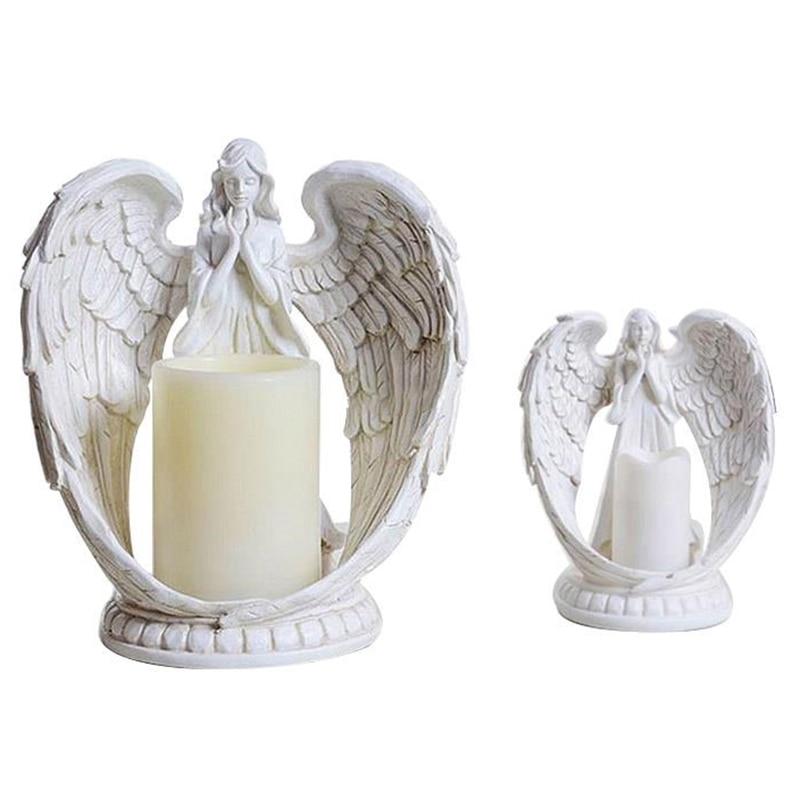 Figuras de Ángel de resina creativa candelabro electrónico artesanías decoración del hogar Ángel miniatura candelabros ornamentos regalos de boda