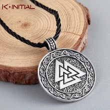 Kinitial Retro The Valknut Viking Runes Necklace Pendant Scandinavian Norse Vikings Charms Knot Cross Necklaces Talisman Jewelry
