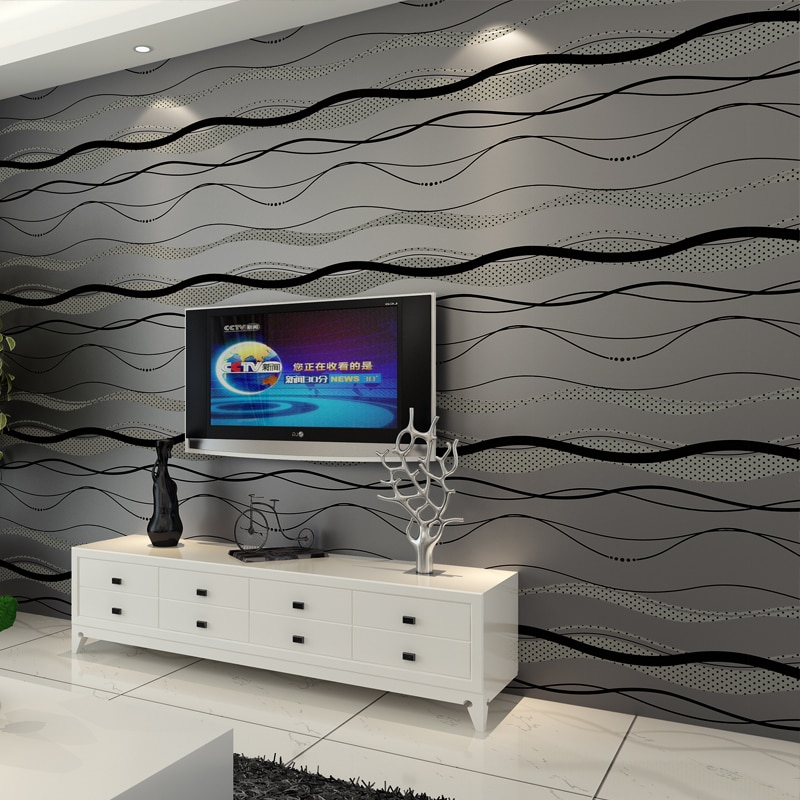 Papel pintado no tejido rollo de superficie de estilo Simple moderno a rayas papel de pared no tejido 3D papel tapiz de escritorio 0,53 m * 10 m