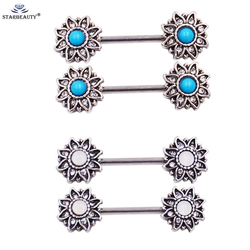 2Pcs/Lot Sunflower with Blue Nature Stone Nipple Earring Piercing 1.6*16mm Fake White Opal Nipple Jewelry Earrings Sexy Women
