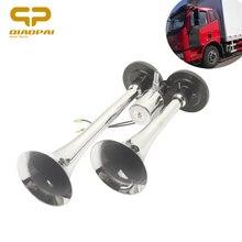 Klaxon de voiture forte 12V 24V   Chrome, deux tuyaux, trompette double voie, klaxon électrique de voiture, Bus de bateau, 150DB