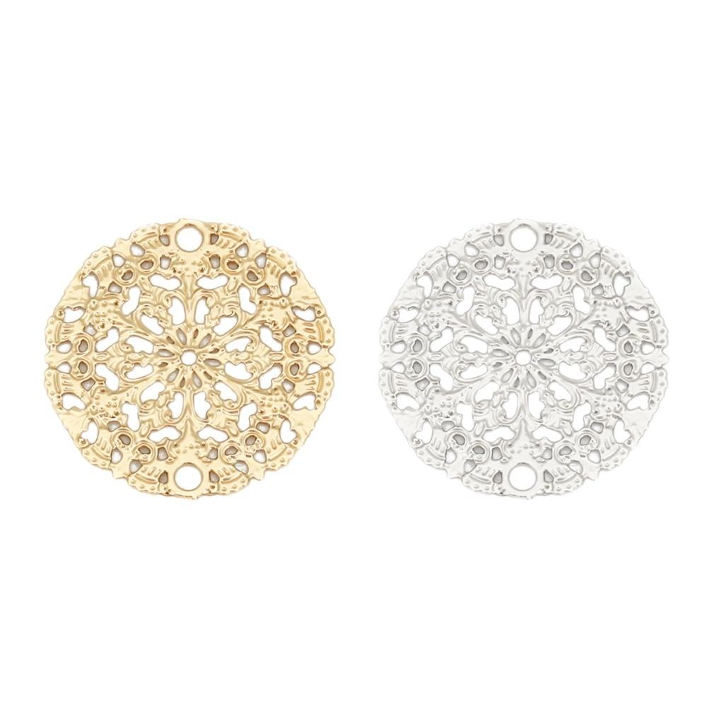 DoreenBeads, модные рандозные штекеры, круглые серебристые, золотистые Подвески «сделай сам», 15 мм (5/8 дюйма), диаметр 10 шт.
