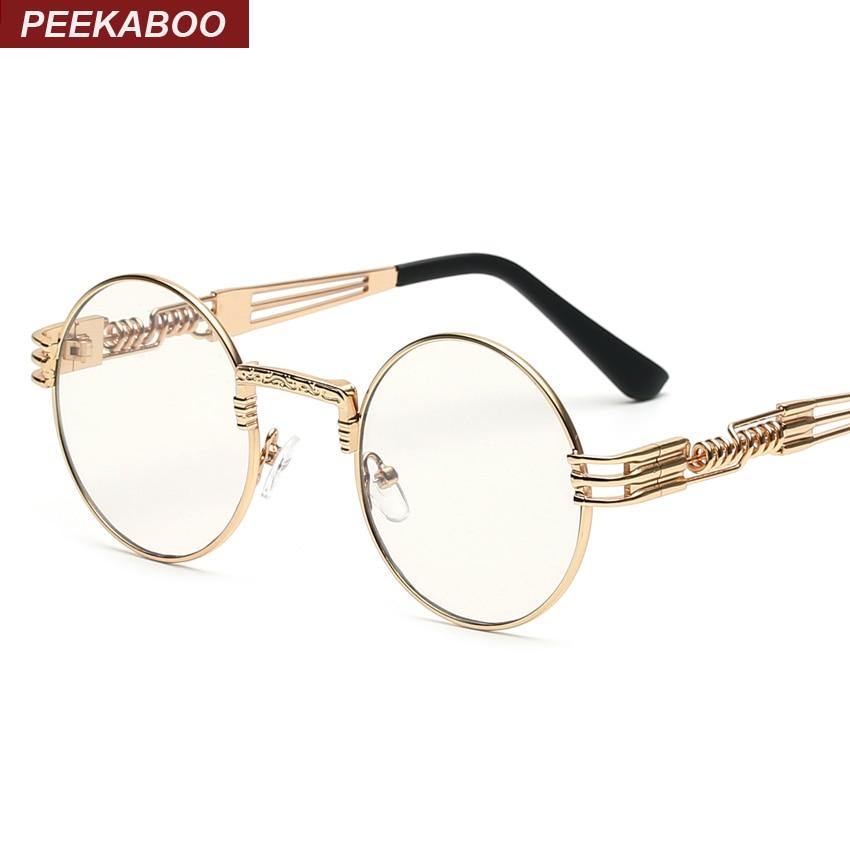 Peekaboo clear fashion gold round frames eyeglasses for women vintage steampunk round glasses frames for men male nerd metal