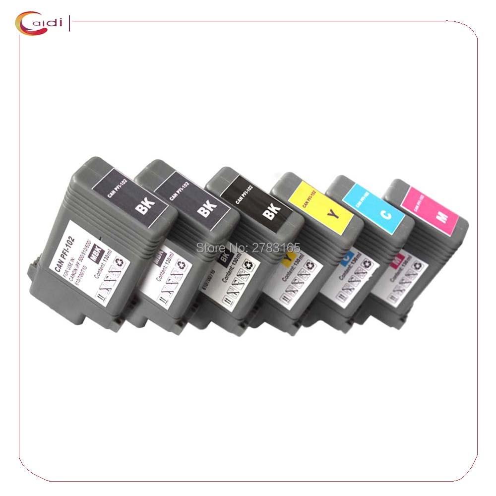 6x compatível para canon ipf500/600/ 700/ipf510/ipf605/ipf710/ipf750/PFI-102 cartuchos de tinta 130ml