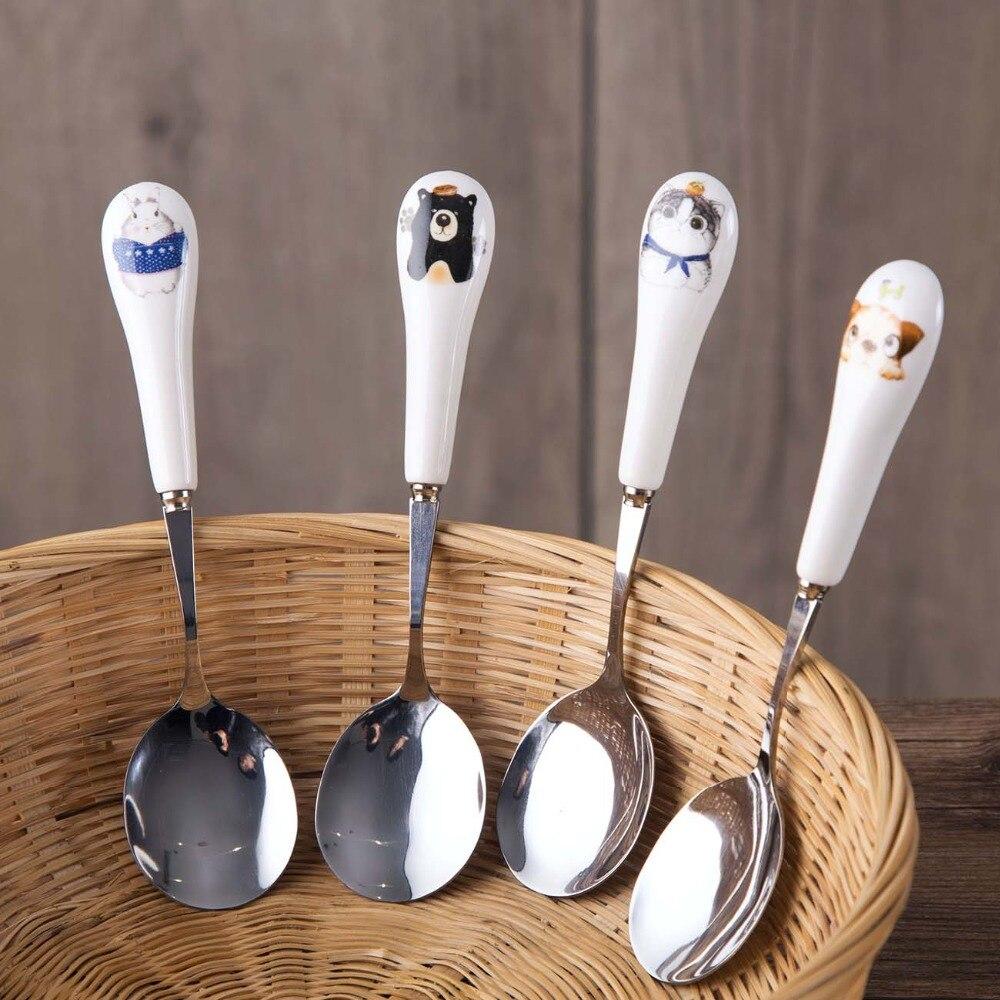 Cute-cuchara de postre, cucharas de café de acero inoxidable con mango de cerámica, caramelo de té, vajilla de cucharas, cuchara de azúcar, Cráneo, especias 1 unidad