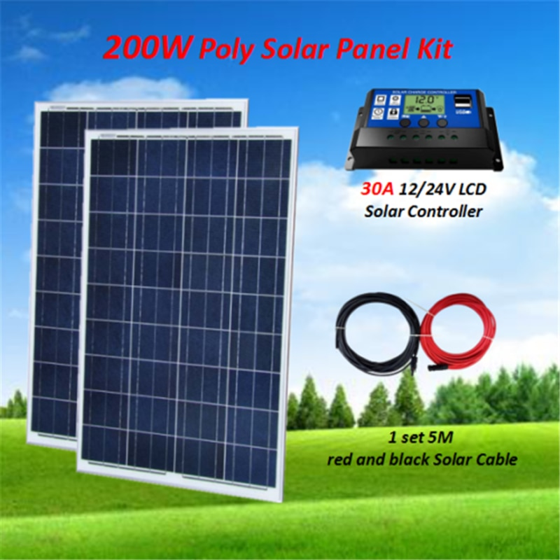 200W Kit de Panel Solar 2x100 W Panel Solar polivinílico W/30A controlador Solar + 5M Cable Solar RV barco a casa