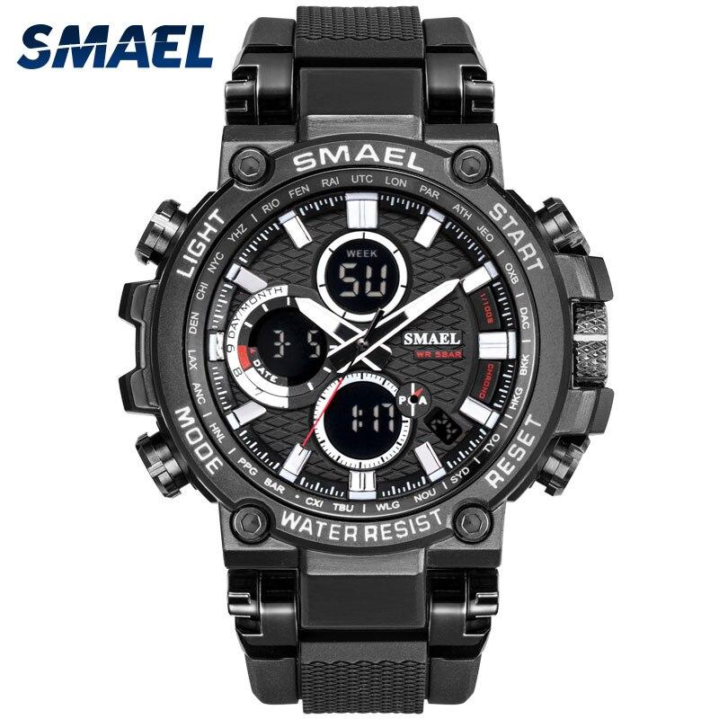 AliExpress - Men Military Watch 50m Waterproof Wristwatch LED Quartz Clock Sport Watch Male relogios masculino 1803 Smael Watch Men Shock