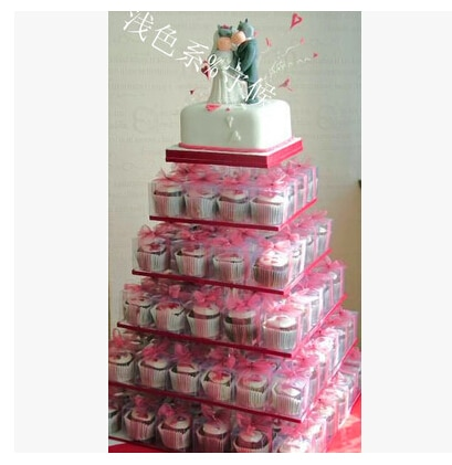 Exquisite clear acrylic cake tower/` 6 Tier square Beautiful Acrylic Cupcake Stand Party / Wedding Festival Supplies decoration