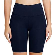 Women Short Solid Pure Pocket High Waist Hip Stretch Running Five Points Black Gym Seamless Fitness Leggings Leggins Mujer