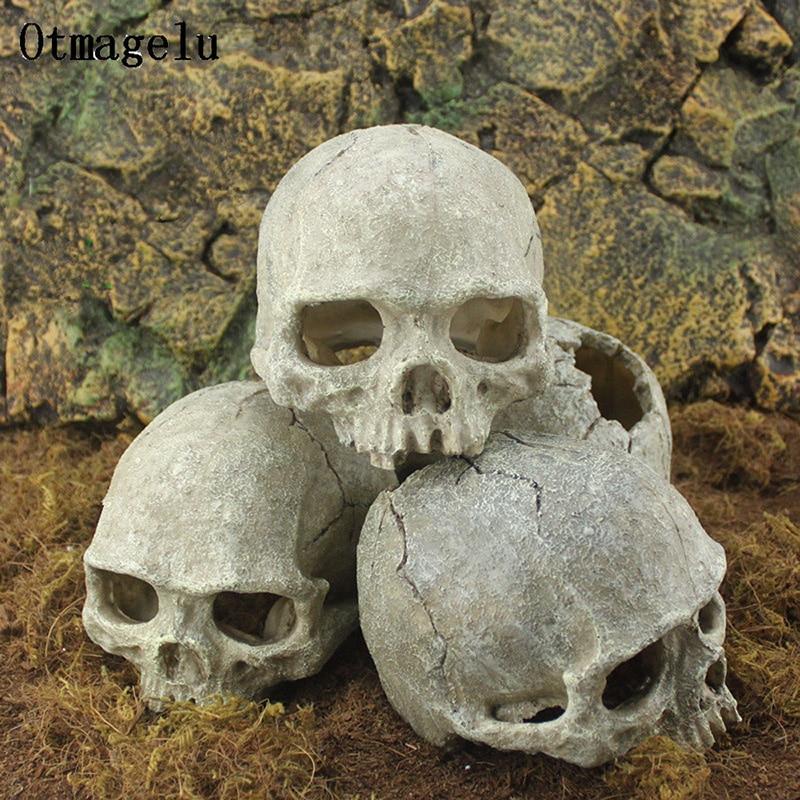 Resin Easter Island Head Bone Skull Statue for Lizards Terrarium Reptile Hide Cave Aquarium Fish Tank Landscape Decor Ornament