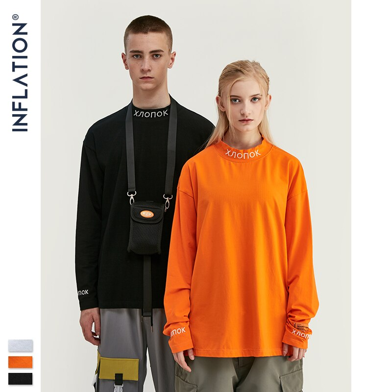 Camiseta de manga longa de inflação streetwear gola retro camiseta pulôver masculino feminino hip hop laranja emboridery tshirt 8702 w