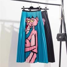 Print Cartoon Midi Skirts Womens High Waist Pleated Long Skirt For Women Summer Spring 2020 Rok Party Jupe A-Line Streetwear
