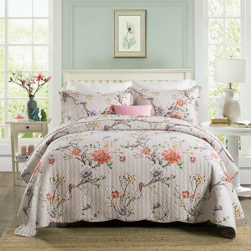 لينة المفرش على السرير لحاف مجموعة 3 قطعة حك القطن بطانية قماش مبطن غطاء السرير الملكة حجم الصيف كوفير CHAUSUB