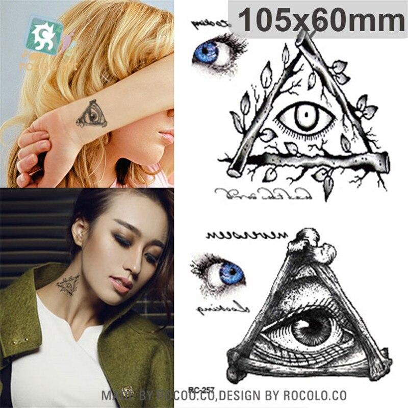 Arte do corpo à prova dwaterproof água papel tatuagens temporárias para homens e mulheres terror triângulo olho design pequeno tatuagem adesivo atacado rc2257