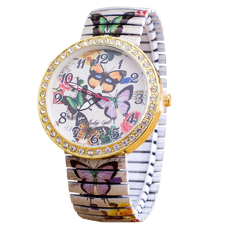 2018 nueva moda elasticidad de lujo para mujeres mariposa reloj de pulsera de cuarzo analógico elegante vestido de las señoras relojes reloj femenino