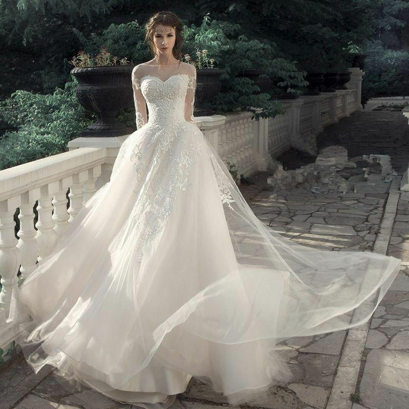 Vestido de novia de manga larga de ilusión 2019 vestido de novia con apliques de encaje de línea a vestido de novia sin espalda