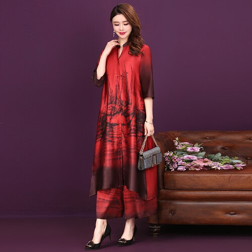 2 peças primavera verão moda com decote em v vestido novo grande oversize elegante temperamento de nove minutos ampla calças legged vestidos