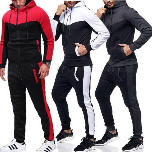 Conjunto de pantalones con capucha, chándal para correr, conjunto de chándal para hombre, conjunto de sudaderas con capucha, conjunto para correr, ropa activa de gimnasio para Otoño e Invierno