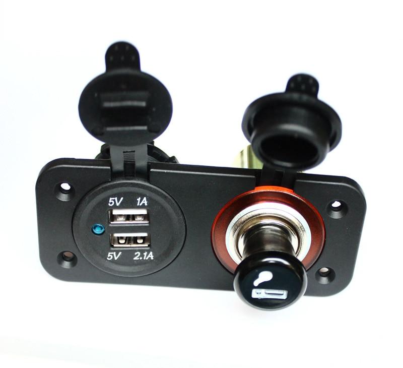Coche de la motocicleta GPS LED DC 5V Dual cargador con puerto USB 2.1A y 1A del divisor del zócalo + Marina 12V enchufe de encendedor de cigarrillos adaptador de cargador