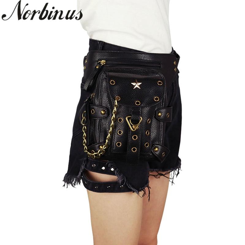 Norbinus 2019 Steampunk, bolsos de cintura para mujer, piel sintética, bandolera, bolso de hombro, bolso Punk, remache, bolso de pierna de muslo para motocicleta