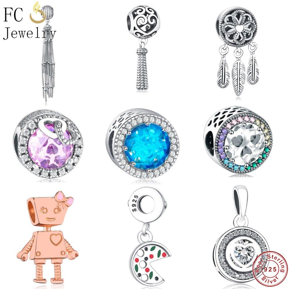Tassel Dream Feather Radiant Love Charm Bead Real Silver 925 Fit Original Pandora Charms Bracelets DIY Jewelry Making Berloque