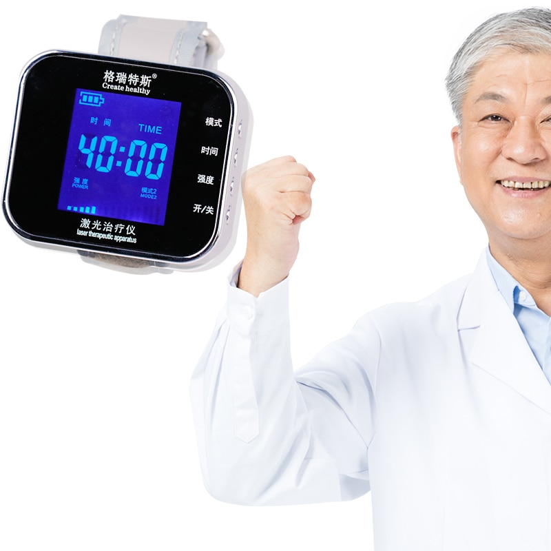650nm soins de santé Laser thérapie poignet basse fréquence Hypertension hyperlipidémie hyperviscosité cholestérol lumière traitement montre